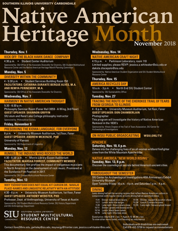 Native American Heritage Month calendar 2018